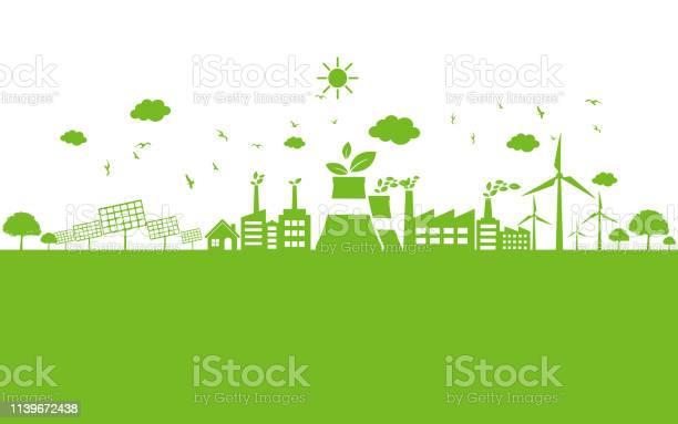 Grön Ekologi Stad Miljö Vänlig-vektorgrafik och fler bilder på Alternativ