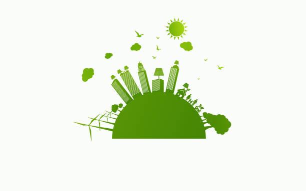 Green ecology City environmentally friendly vector art illustration