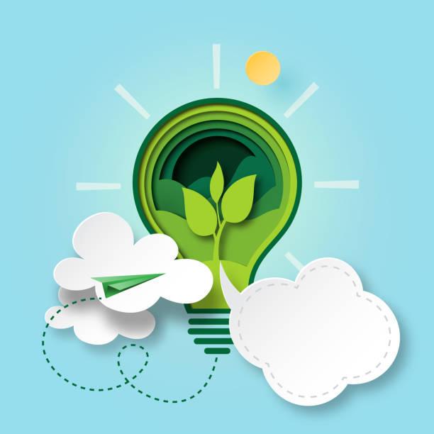 bildbanksillustrationer, clip art samt tecknat material och ikoner med grön ekologi koncept papper cut style - ekosystem