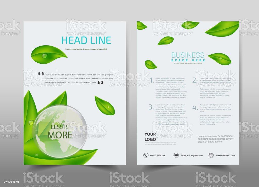 Green Ecology Design On Backgroundbrochure Template