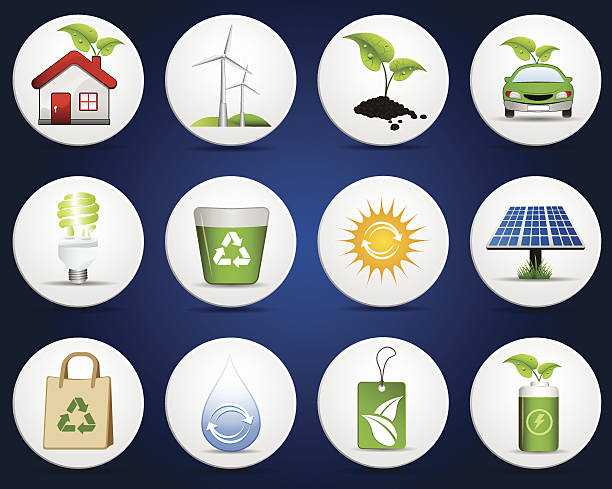 Green Ecology Icon Green Ecology Icon Set. EPS 10 file.  rechargeable battery stock illustrations