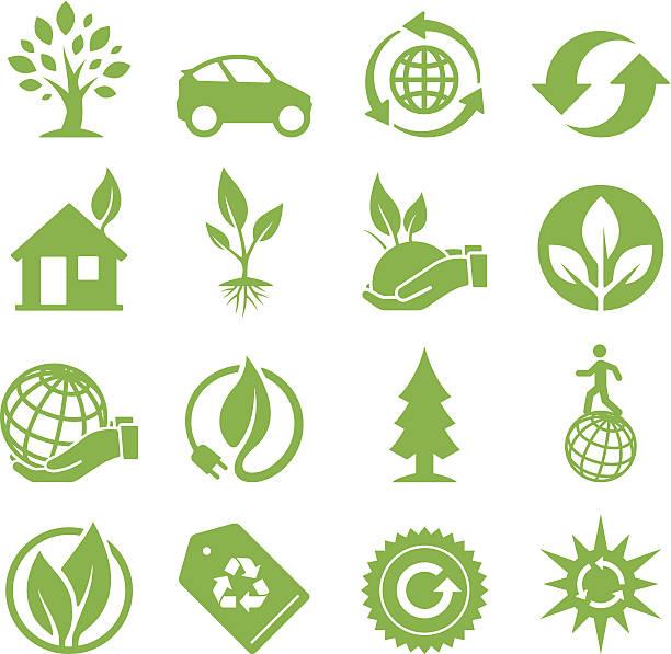 stockillustraties, clipart, cartoons en iconen met green ecology icons ii - klimaat