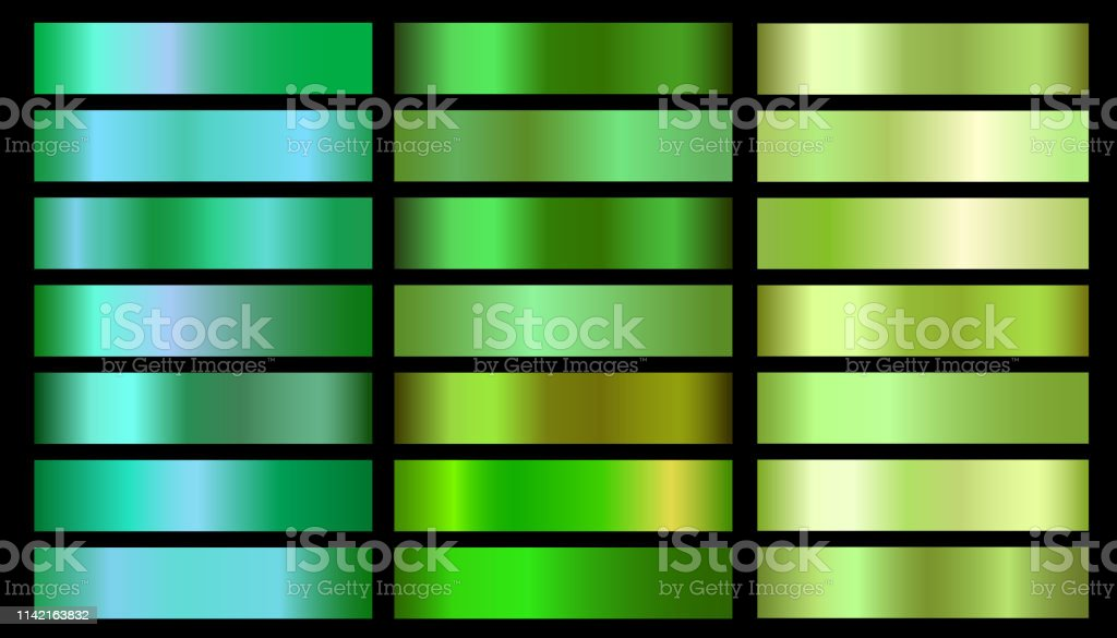 Green ecology vector gradients set. Glossy shin nature green gradient...