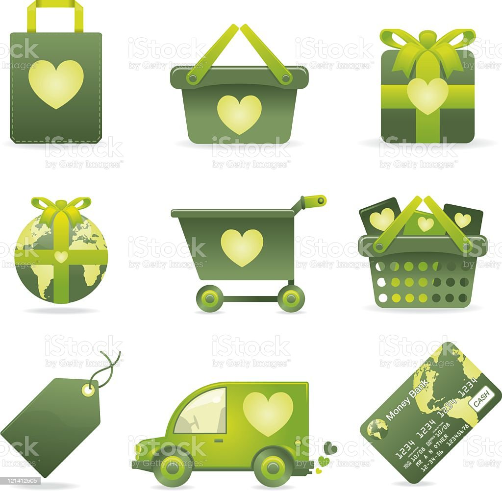 Green ecommerce icons royalty-free stock vector art