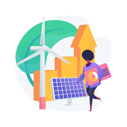 Green economy abstract concept vector illustration.