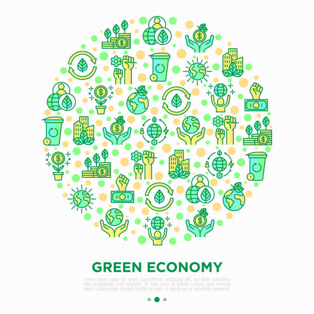 ilustrações de stock, clip art, desenhos animados e ícones de green economy concept in circle with thin line icons: financial growth, green city, zero waste, circular economy, green politics, anti-globalism, global consumption. vector illustration for environmental issues. - economia circular