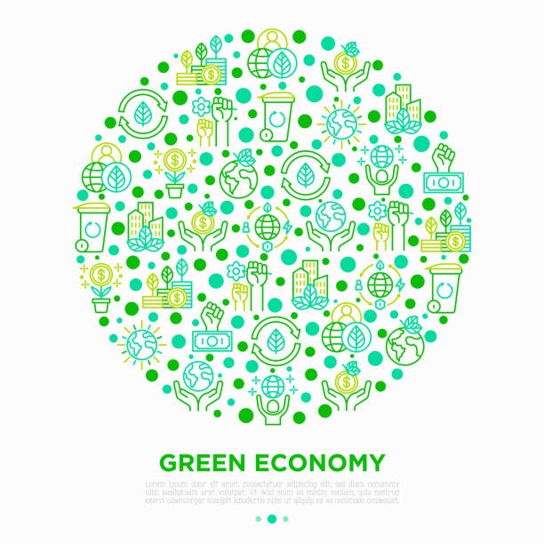 ilustrações de stock, clip art, desenhos animados e ícones de green economy concept in circle with thin line icons: financial growth, green city, zero waste, circular economy, anti-globalism, global consumption. vector illustration for environmental issues. - economia circular