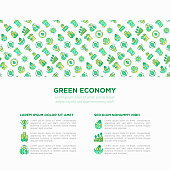 Green economy concept with thin line icons: financial growth, green city, zero waste, circular economy, green politics, anti-globalism, global consumption. Vector illustration for environmental issues.