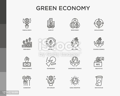 Green economy thin line icons set: financial growth, green city, zero waste, circular economy, green politics, anti-globalism, global consumption. Vector illustration for environmental issues.