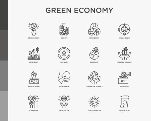 ilustrações, clipart, desenhos animados e ícones de ícones da linha fina da economia verde definidos: crescimento financeiro, cidade verde, desperdício zero, economia circular, política verde, antiglobalismo, consumo global. ilustração vetorial para questões ambientais. - economia