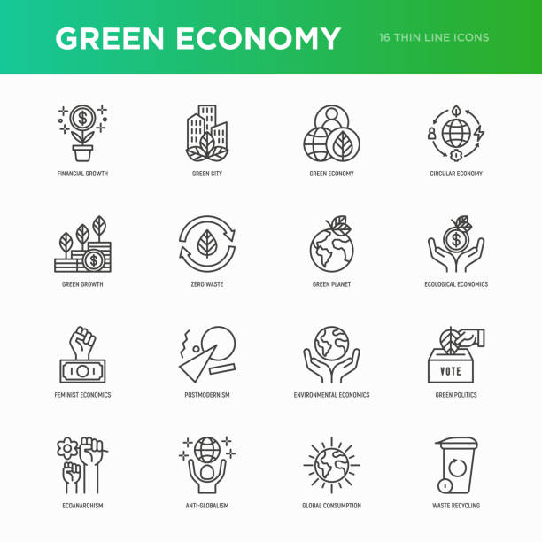 ilustrações de stock, clip art, desenhos animados e ícones de green economy thin line icons set: financial growth, green city, zero waste, circular economy, green politics, anti-globalism, global consumption. vector illustration for environmental issues. - economia circular