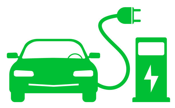 green electric car and charging station symbol green electric car and charging station symbol vector illustration electric car stock illustrations