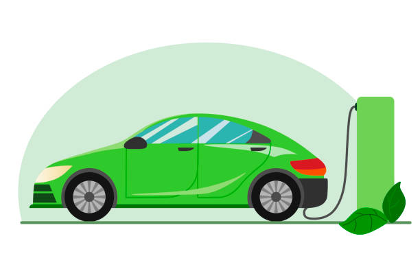 A green electric car charging at the charger station. Electromobility e-motion concept.Flat vector illustration. A green electric car charging at the charger station. Electromobility e-motion concept.Flat vector illustration. alternative fuel vehicle stock illustrations