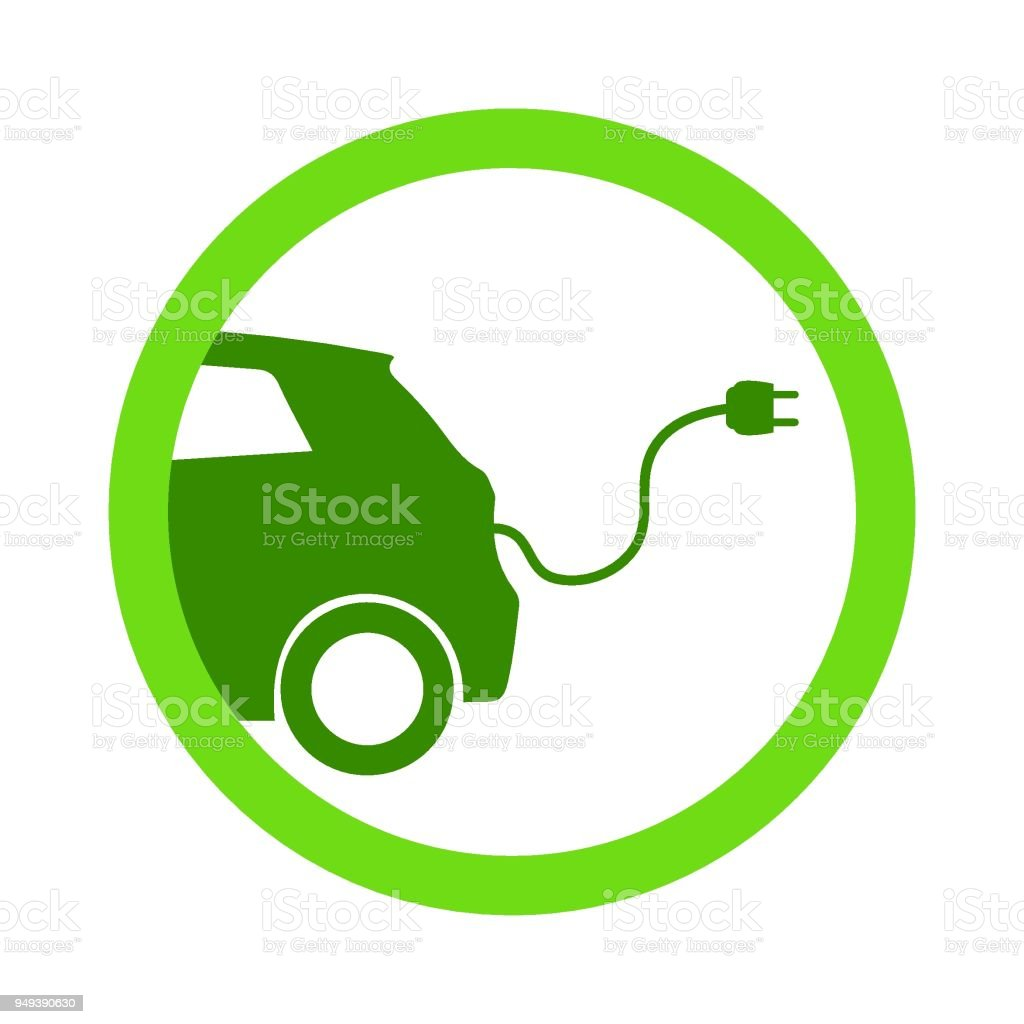 Green electric car charging point icon vector. Renewable eco technologies vector art illustration