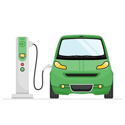Green Electric Car Charging