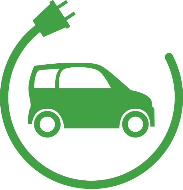 Green Electric Car Icon Vector illustration of a green electric car with an electric plug circling it. alternative fuel vehicle stock illustrations