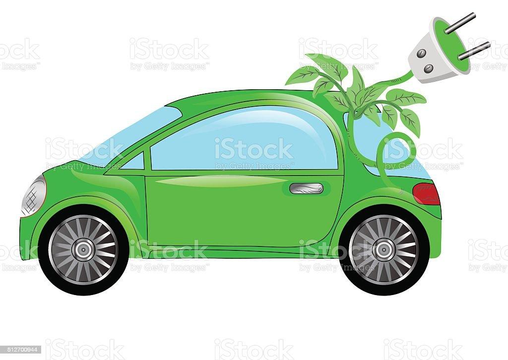 green electric car vector art illustration