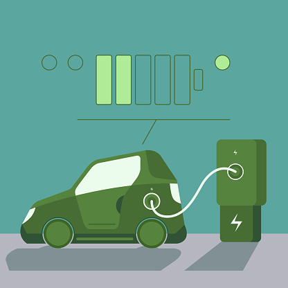 Green electric car with electric car charging station