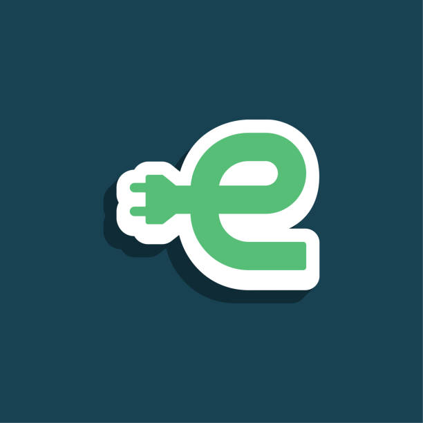 Green Electric Charging Vector Lowercase Letter E vector art illustration