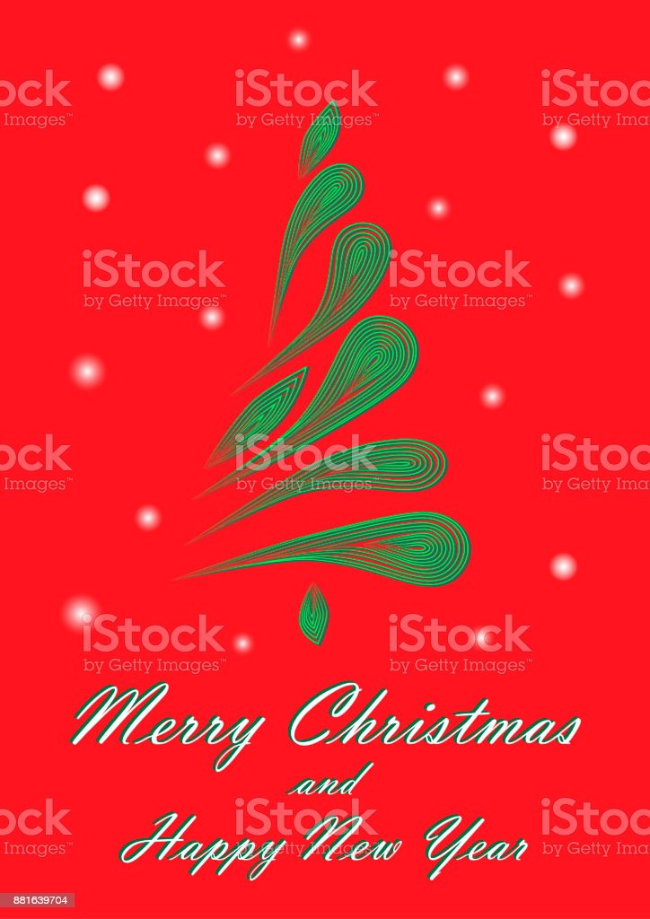 Green Elegant Christmas Tree On A Red Background Vertical Royalty Free