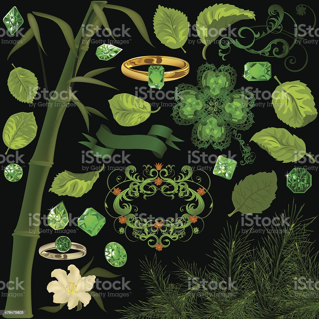 Green elements set royalty-free green elements set stock vector art & more images of bamboo - plant