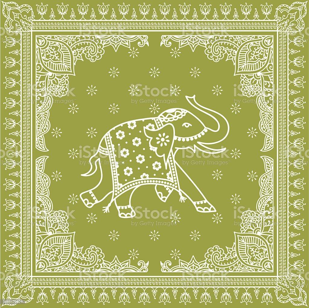 Green Elephant Bedspread vector art illustration