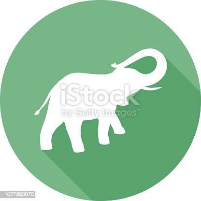 Vector illustration of a white elephant silhouette on a round green background.