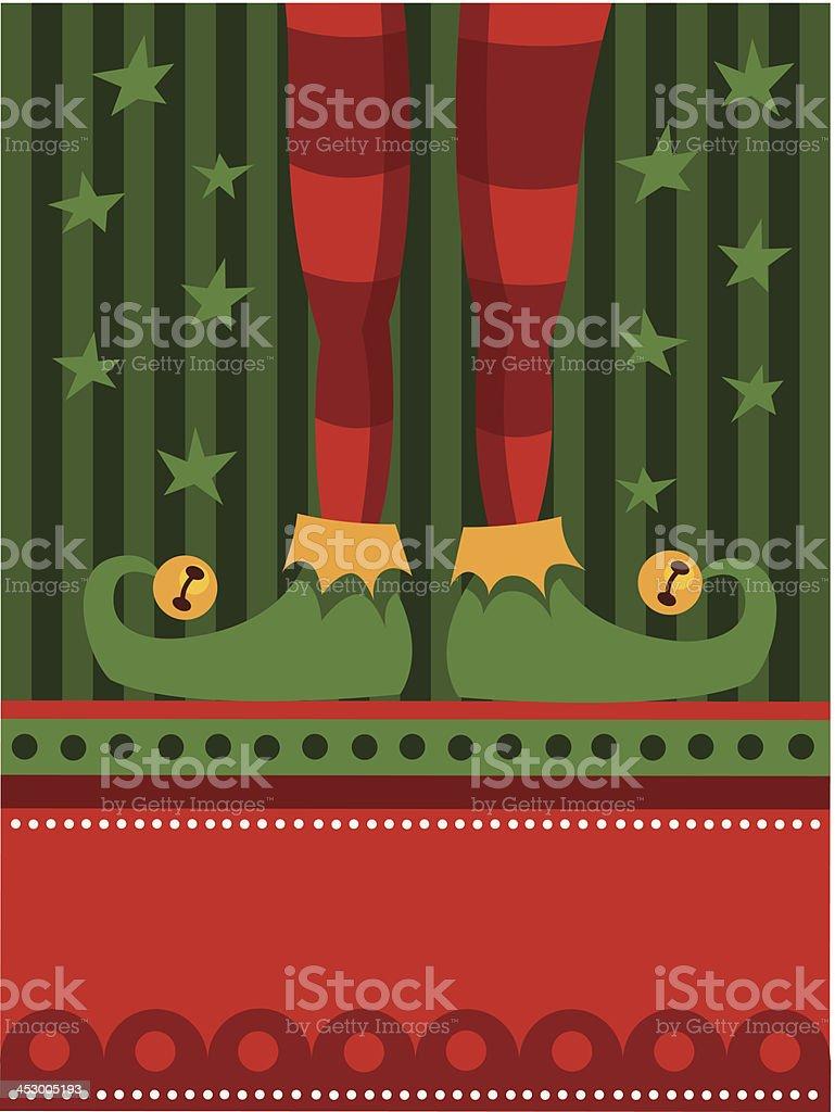 Green elf feet vector art illustration