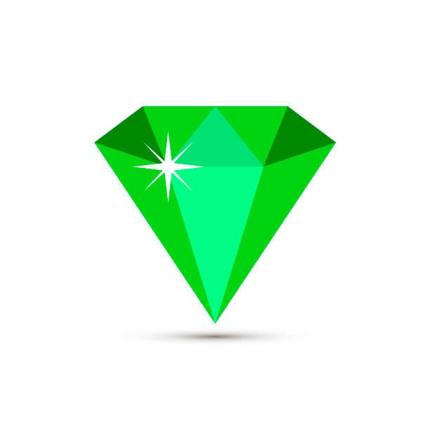 grüne smaragd vektor schmuck-symbol. schatz, hochzeit und mode zubehör sammlung für poster, banner, logo, symbol, promo. luxus-edelstein, piktogramm von schmuck isoliert auf weißem hintergrund - hochzeitsanstecker stock-grafiken, -clipart, -cartoons und -symbole