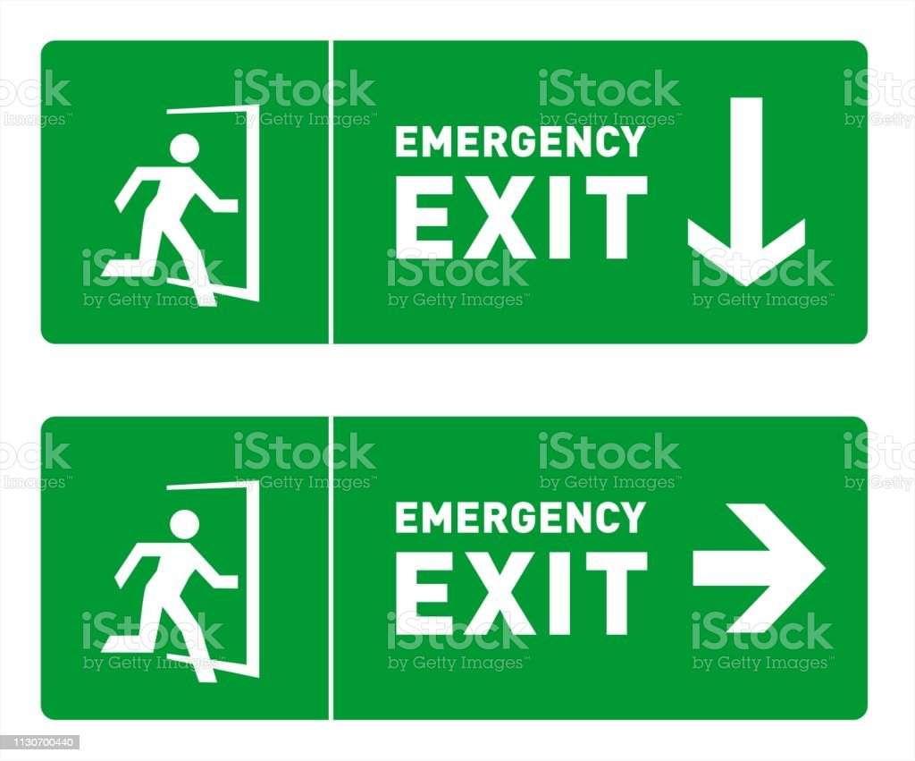 Emergency Exit Safety Signs Pack - two sign templates in green color,...