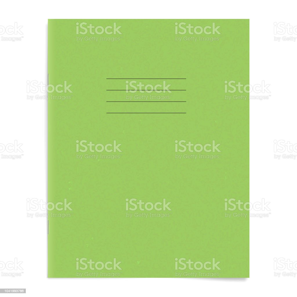 Green Empty Exercise Book Template Blank School Workbook Cover Stock
