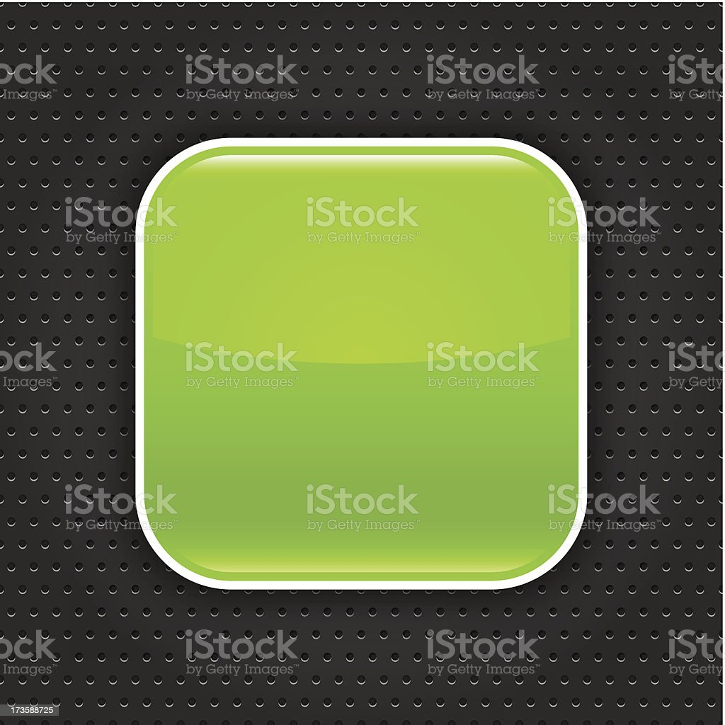 Green empty icon blank web internet button perforation metal texture royalty-free stock vector art