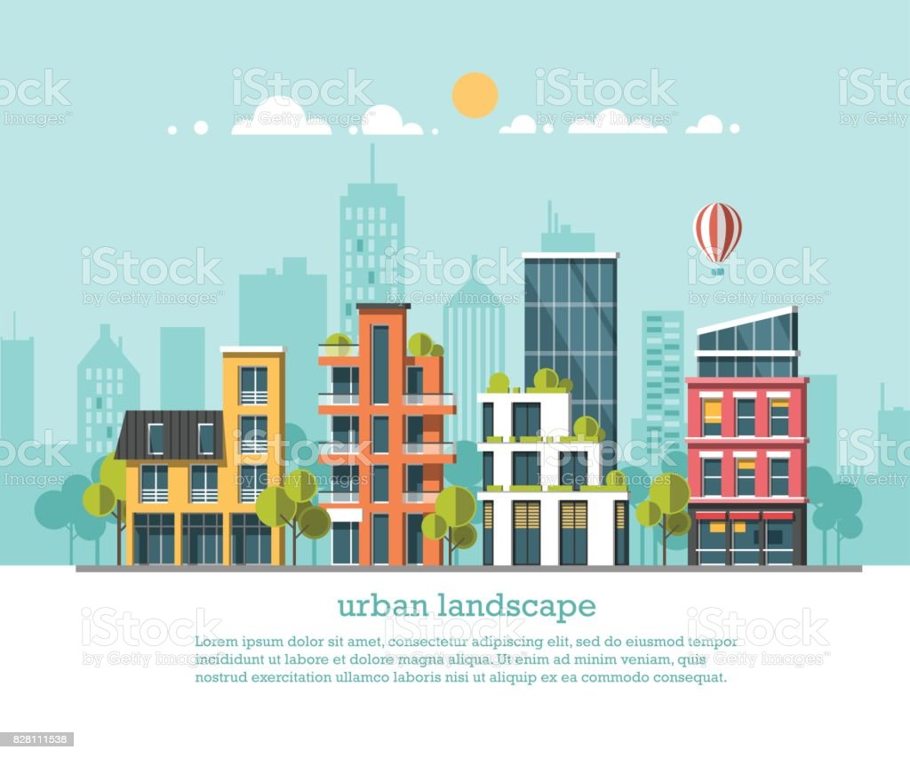 Green energy and eco friendly city. Modern architecture, buildings, hi-tech townhouses, green roofs, skyscrapers. Flat vector illustration. 3d style. royalty-free green energy and eco friendly city modern architecture buildings hitech townhouses green roofs skyscrapers flat vector illustration 3d style stock illustration - download image now