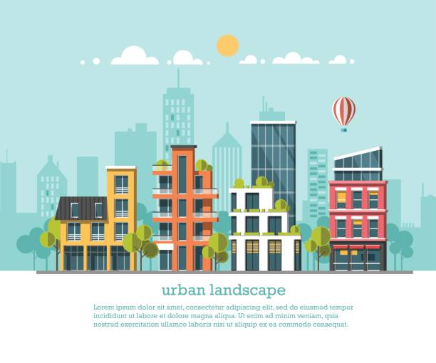 Green energy and eco friendly city. Modern architecture, buildings, hi-tech townhouses, green roofs, skyscrapers. Flat vector illustration. 3d style. Green energy and eco friendly city. Modern architecture, buildings, hi-tech townhouses, green roofs, skyscrapers. Flat vector illustration. 3d style. urban road stock illustrations