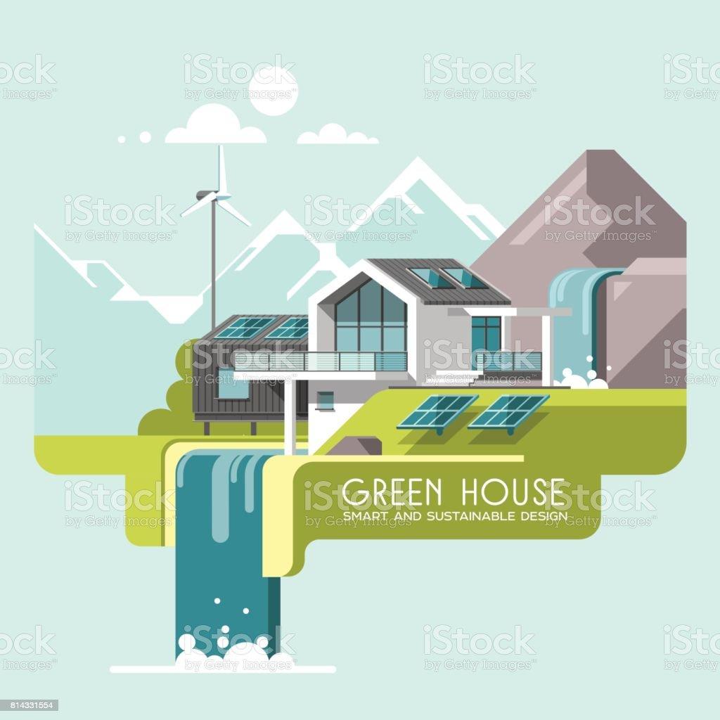 Energía y respetuoso del medio ambiente moderno casa verde sobre fondo de paisaje de montaña. Casa de la cascada. Solar, energía eólica. 3D ilustración de vector. - ilustración de arte vectorial
