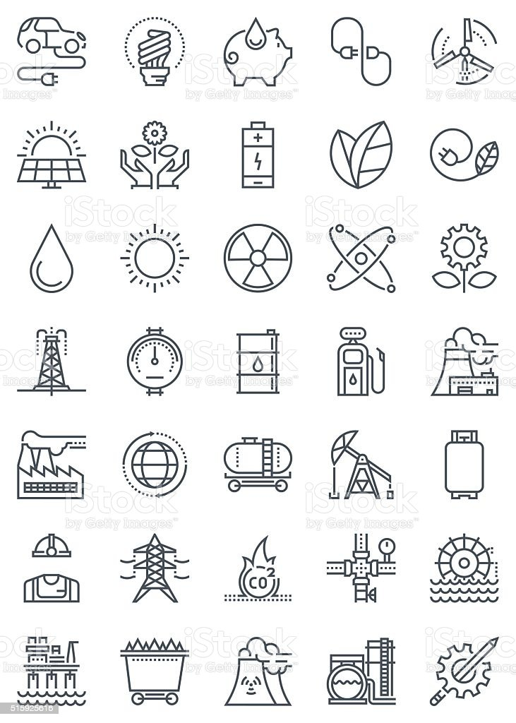 Green energy and industry icon set vector art illustration