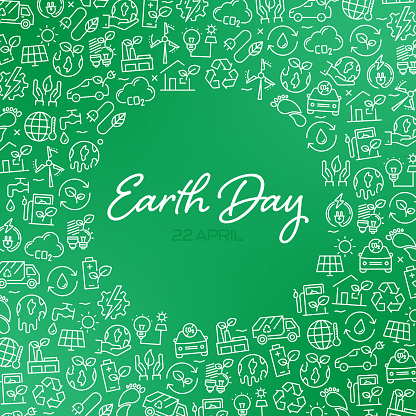 EARTH DAY - Green Energy and Nature Concept Vector Pattern and Abstract Background.