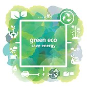 Vector of green energy and recycle concept illustrations. EPS Ai 10 file format.