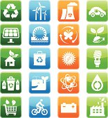 green energy and recycling symbol icon set