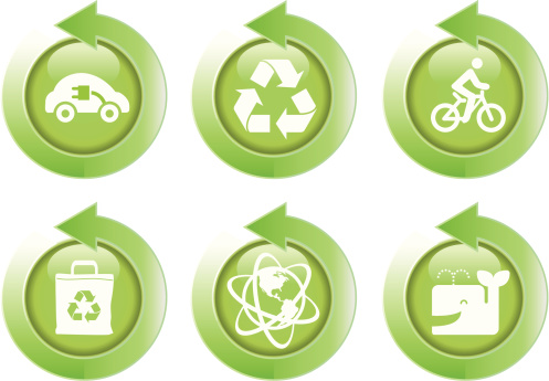 green energy and recycling symbol with arrowicon set
