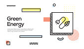Green Energy Concept. Geometric Retro Style Banner and Poster Concept with Green Energy icon