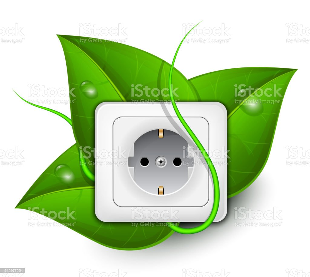 Green energy concept. Power outlet with foliage background vector art illustration