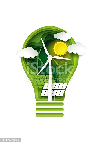 Green energy concept, vector illustration in paper art style. Solar panels and windmills inside of lightbulb. Ecology, renewable alternative energy sources.