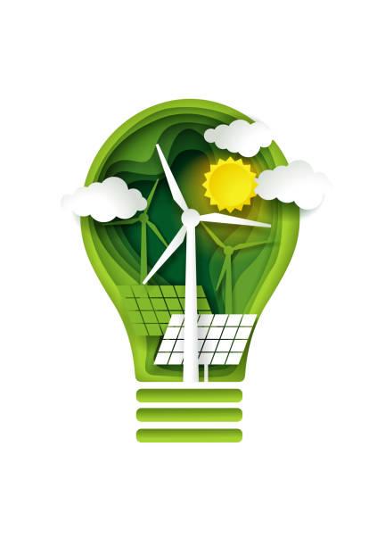 stockillustraties, clipart, cartoons en iconen met groene energieconcept, vector papier knippen illustratie - renewable energy