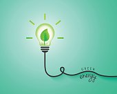 Green energy concept with light bulb and leaf