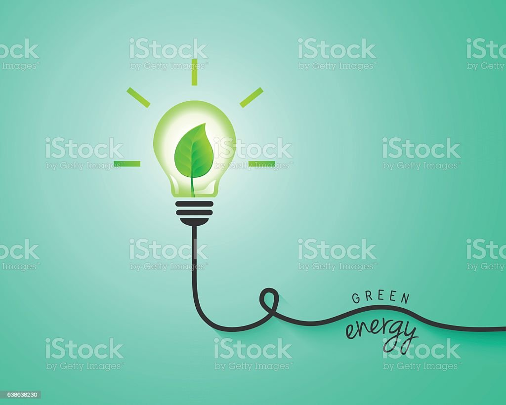 Green energy concept with light bulb and leaf vector art illustration