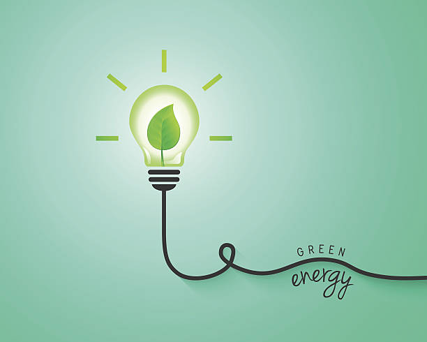 green energy concept with light bulb and leaf - energy saving stock illustrations, clip art, cartoons, & icons