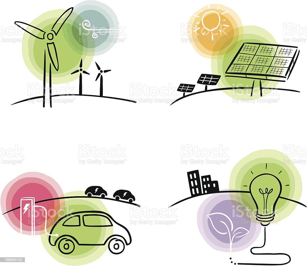 Grüne Energie-Konzepte – Vektorgrafik