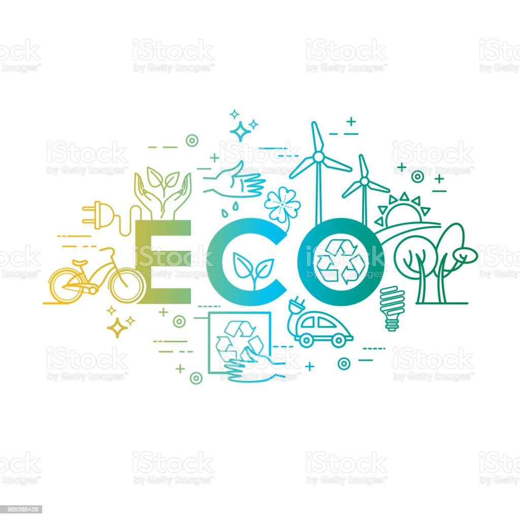 Green energy, eco lifestyle, recycle. Vector design template in linear style royalty-free green energy eco lifestyle recycle vector design template in linear style stock illustration - download image now