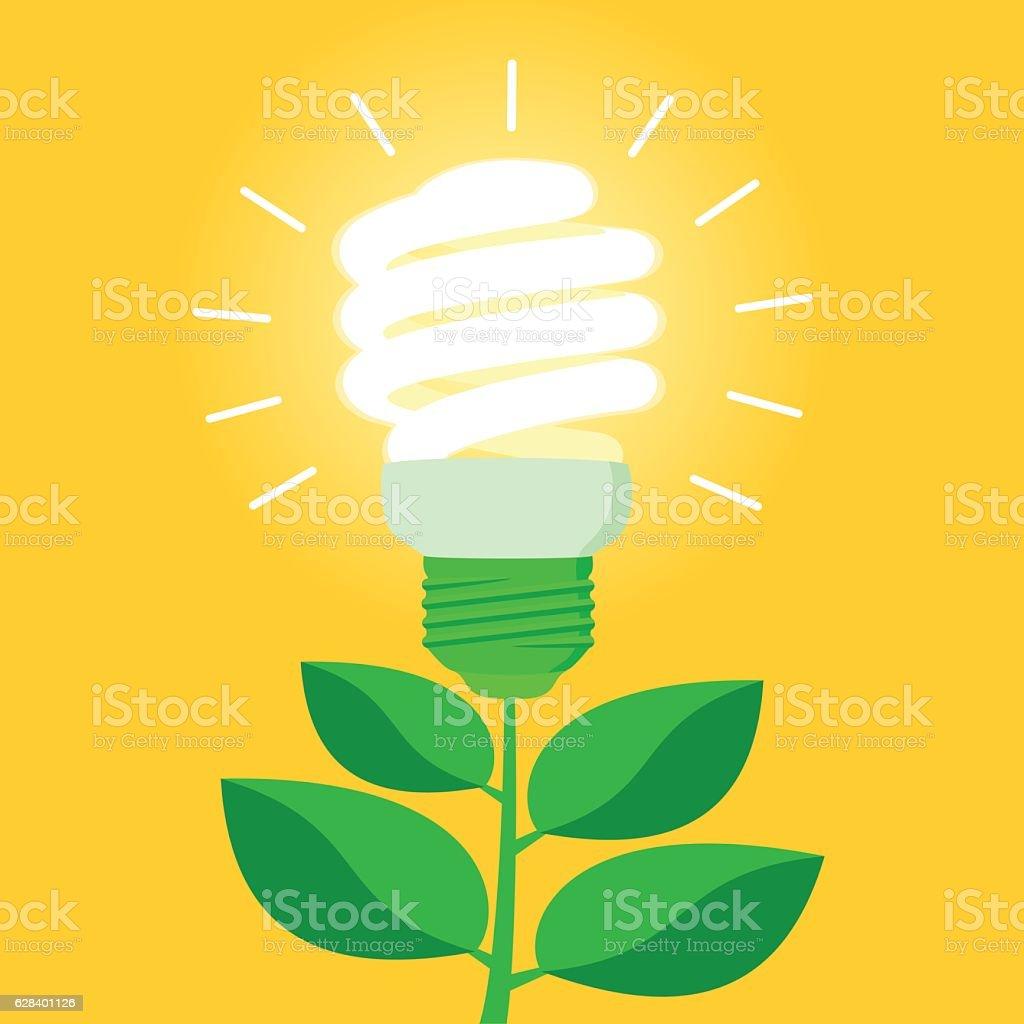 Green energy efficient CFL light bulb vector art illustration